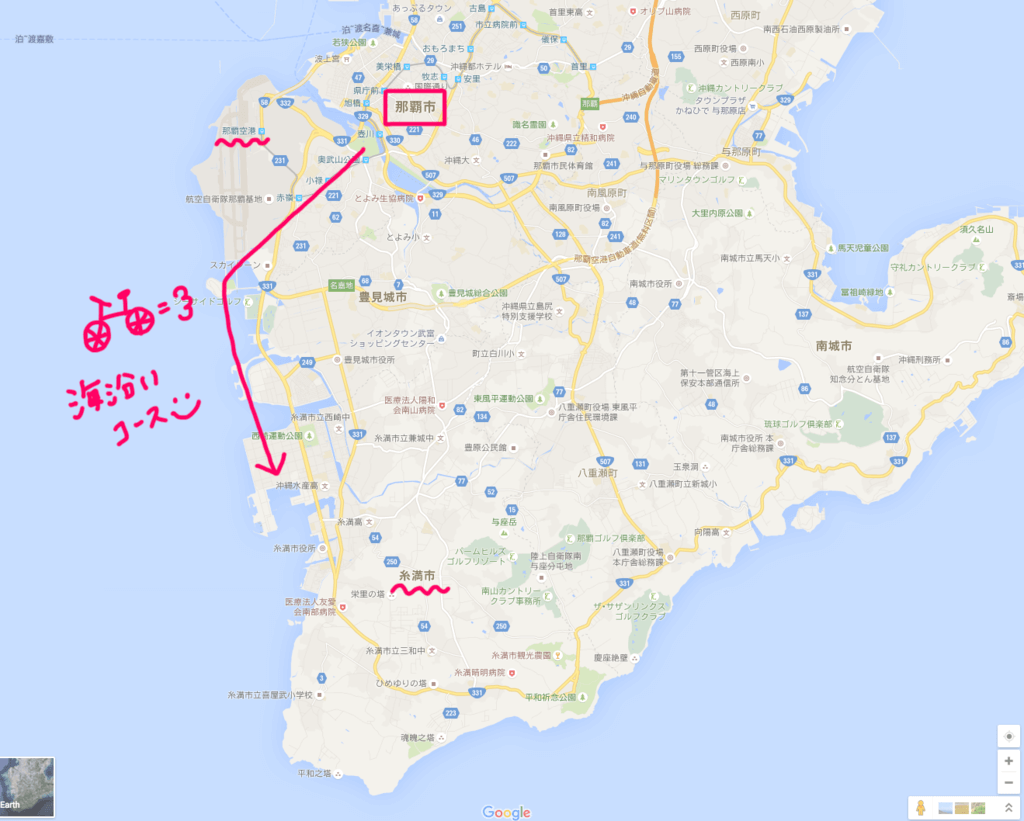 沖縄サイクリングの道のり地図