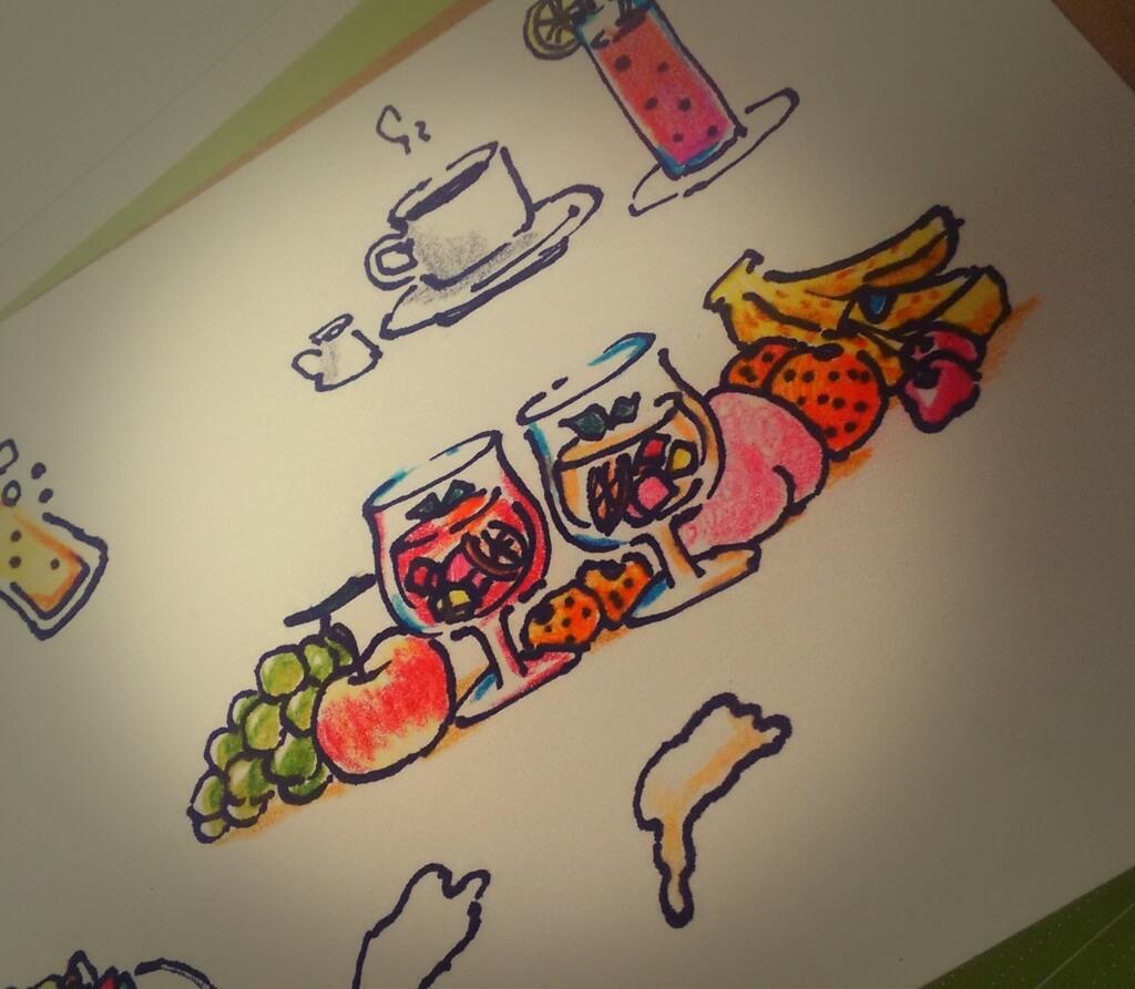レストランバーのメニューをデザイン。イラストを描いた5