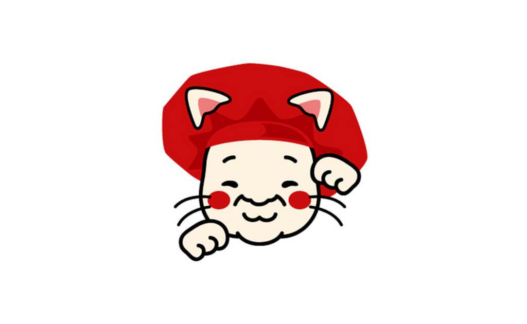 タオルのデザイン-上司の似顔絵を招き猫風に描く